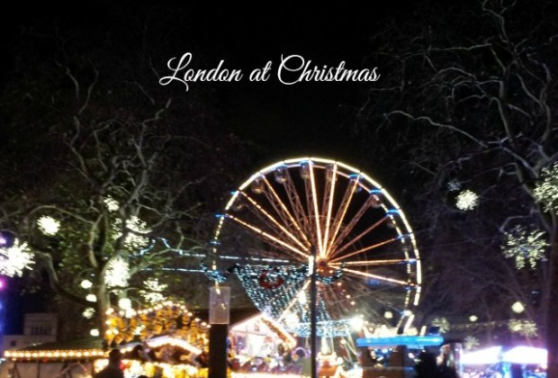London at Christmas - Leicester Square funfair lit up at night