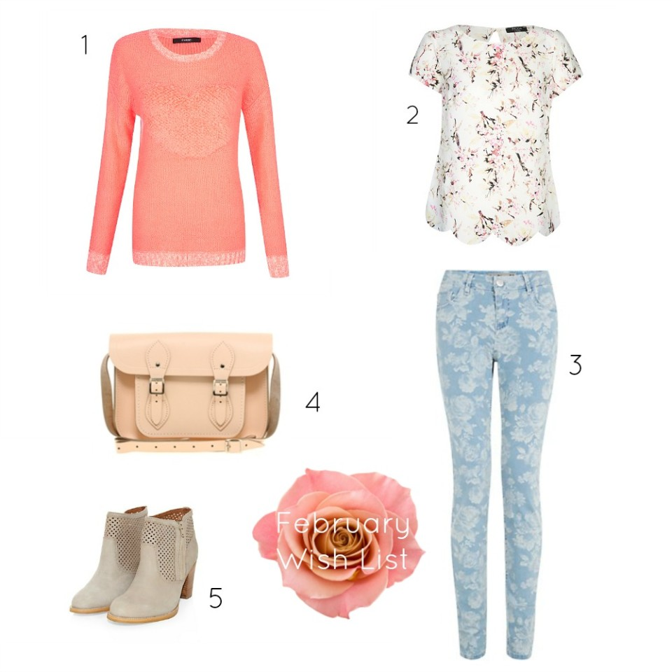 February Wish List coral heart jumper, bird print top, floral jeans, pink satchel, sand boots.