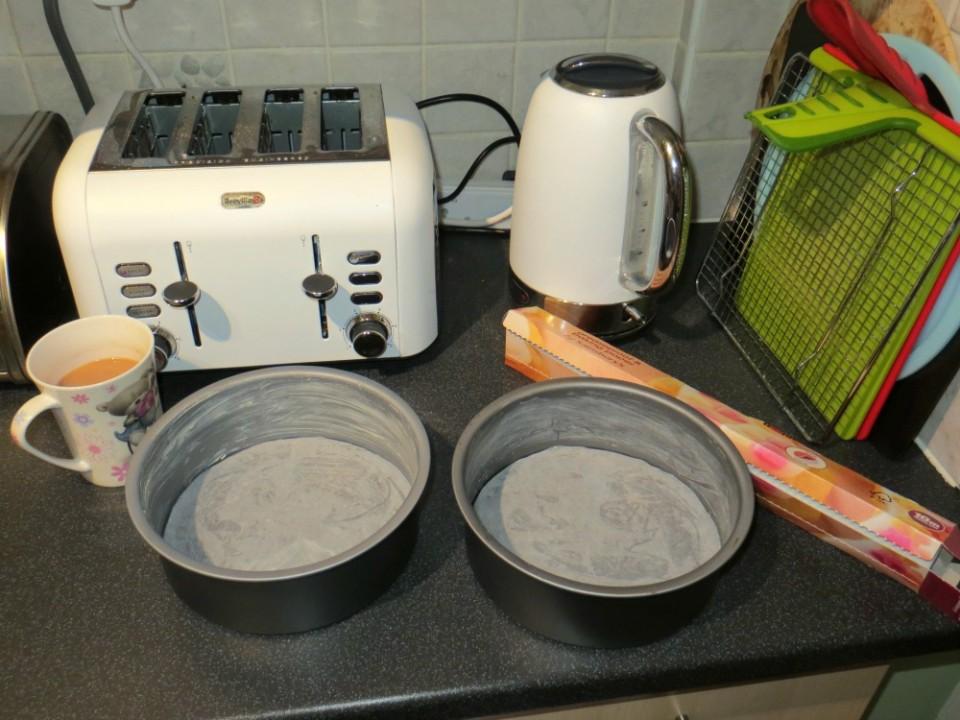 prepared cake tins