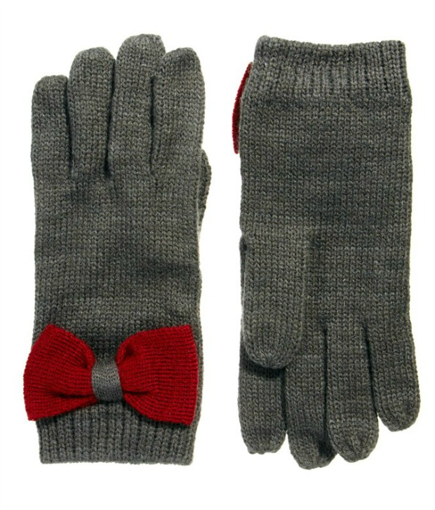 Grey touchscreen gloves with red bows from ASOS