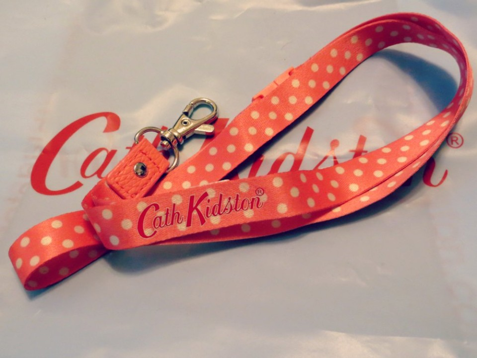 Cath Kidston pink polka dot lanyard