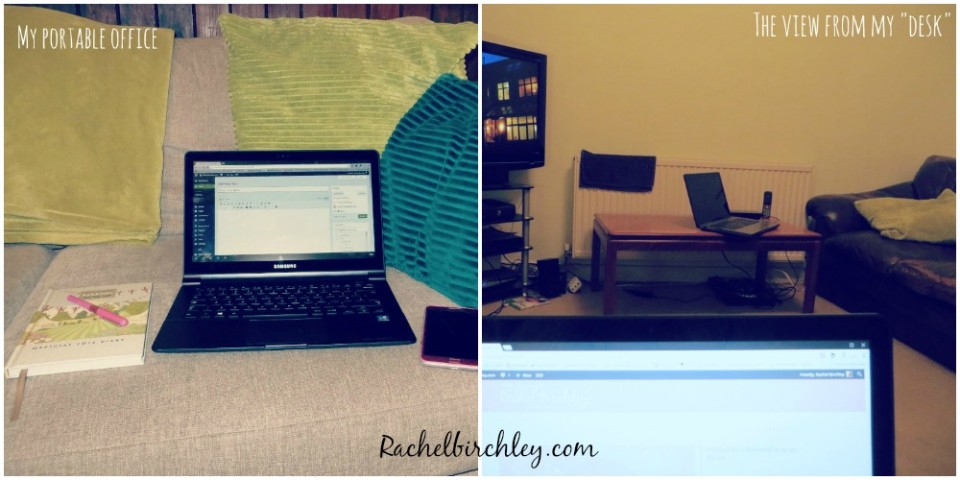 My portable office - I work on my laptop on my lap #portableoffice RachelBirchley.com