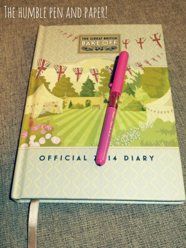 You can't forget the humble pen and paper! I still like to use my diary, this one is a Great British Bake Off diary that contains recipes too! RachelBirchley.com