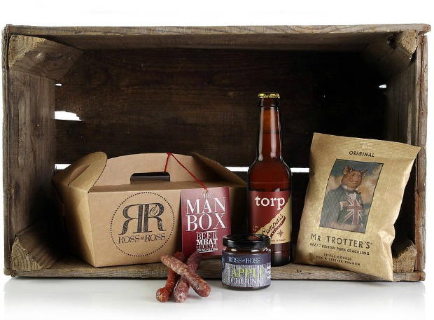 The Man Box - meat, pork scratching, chutney and beer in a box.