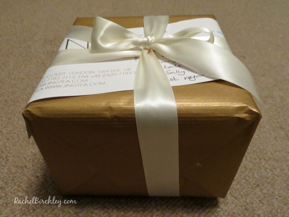 Gift wrapped box of Jing Tea | RachelBirchley.com