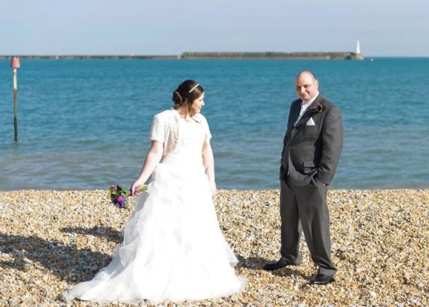 Rachel and Marc Birchley wedding photo on the beach
