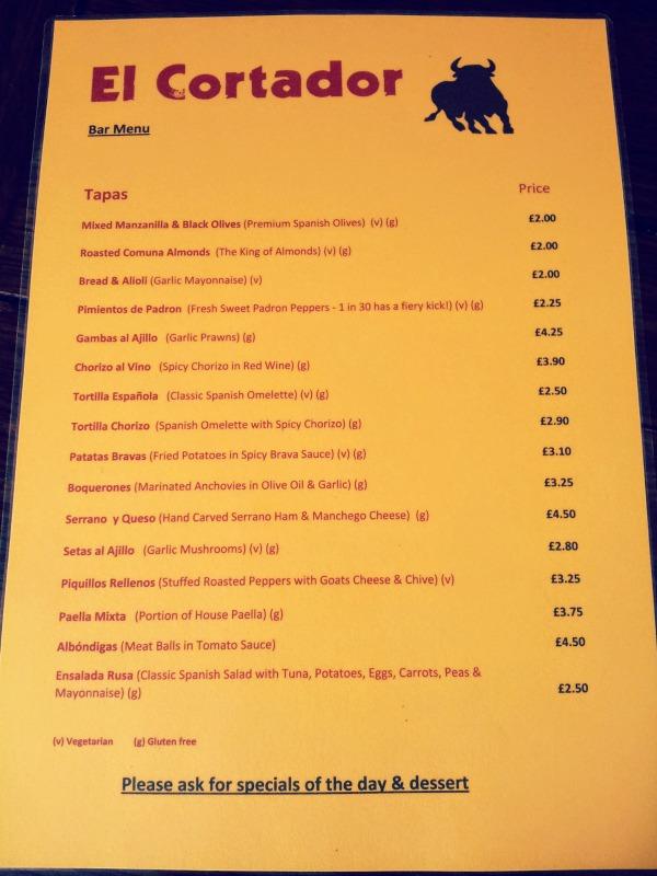 El Cortador menu