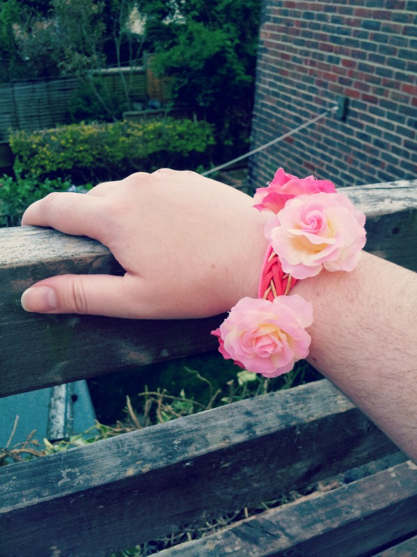 Flower headband from New Look worn as bracelet.