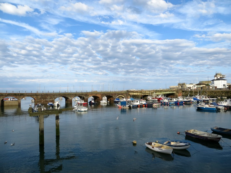 Folkestone harbour with clouds