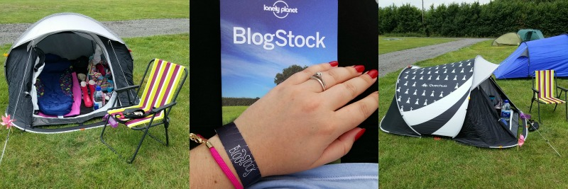 Blogstock 2014 my tent, the Lonely Planet booklet and my wristband